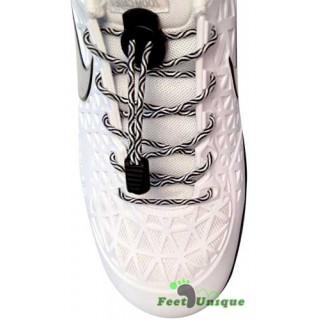 Elastic lock black & white shoelaces