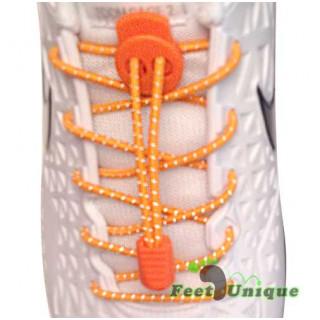 Reflective lock orange shoelaces