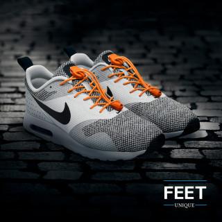 Elastic lock orange shoelaces