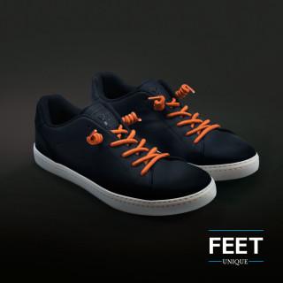 Orange curly shoelaces