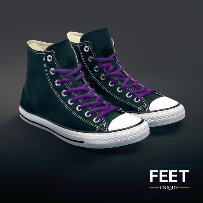 Oval purple shoelaces