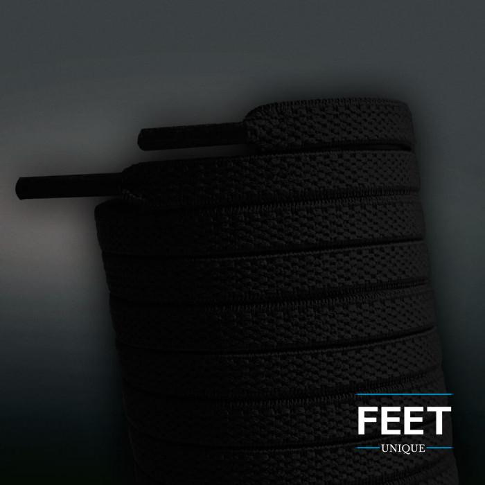 Elastic flat black shoelaces (no tie)